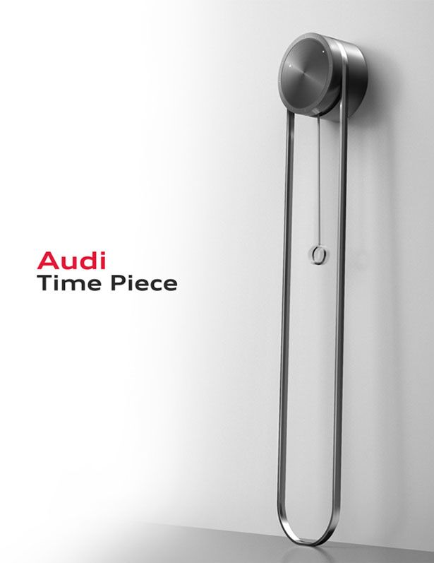 Inspired by the classic grandfather clock, this Time Piece reinterprets the modern grandfather clock by incorporating Audi's delicate details and technical philosophy.