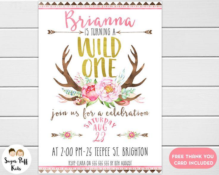 Girls Wild One 1st Birthday Invitation, Girls Wild One Birthday Invitation, Wild One Birthday Invitation For Girl, Wild One Invitation Girl by SugarPuffKids on Etsy