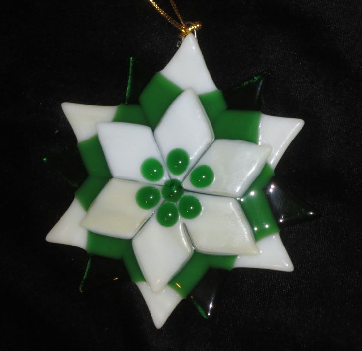 Fused Glass Green and White Ornament