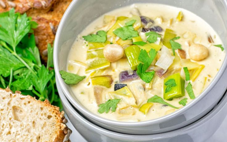 <p>Macadamia nuts give this soup a rich, creamy texture that is enhanced by cheesy nutritional yeast and balanced by the sharpness of the leeks.</p>