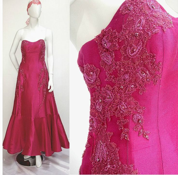 This elegant rose colored gown is the epitome of luxury. Embroidered and beaded with Swavroski, this silk shantung stunner is constructed with internal boning to ensure it fits like a glove.  Custom sizing only.  For pricing, sizing, and ordering details please email us at nmayinda@gmail.com, Whatsapp us at 081299331039, or BB us at 2B07B968.