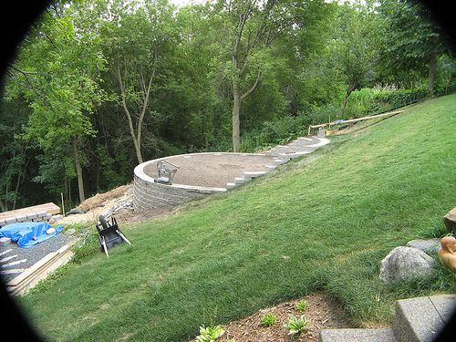 134 best images about above ground pool ideas on pinterest for Pool design for sloped yard