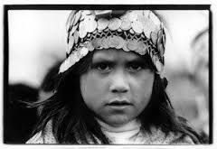 Mapuche girl in traditional headdress