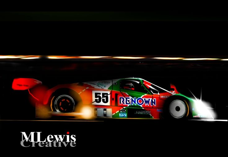 """""""DOUBLE NICKLE"""" Johnny Herbert - Mazda 787B, Le Mans. Original Art by MLewis"""