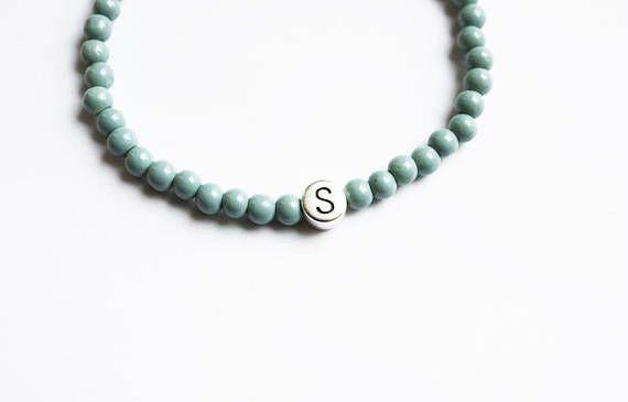 Blue Grey Initial Bracelet - Alphabet Letter -  Friendship Bracelets - Grey Blue Beads - Beaded Jewellery - Boho Jewelry - For Him - For Her - Bohemian Style - Choose Letter