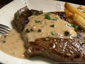 Peppercorn steak sauce from pioneer woman   http://www.foodnetwork.com/recipes/ree-drummond/fillet-with-peppercorn-sauce-recipe/index.html
