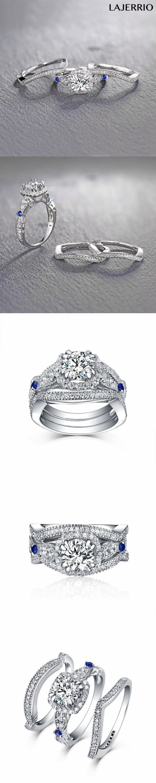 Lajerrio Jewelry Round Cut S925 Silver White Sapphire 3 Piece Halo Ring Sets