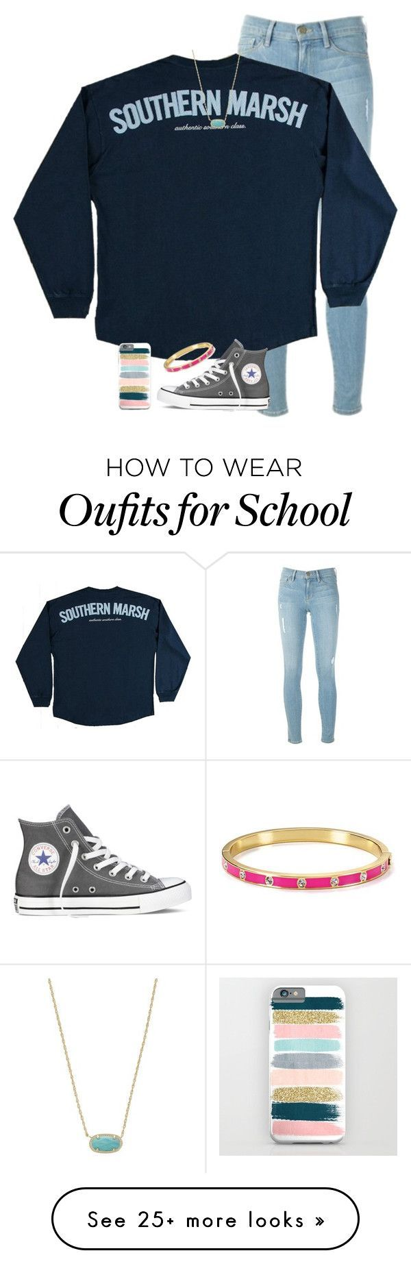 """ay no school again tomorrow im hype"" by preppin on Polyvore featuring Frame Denim, Converse, Kendra Scott, Kate Spade, women's clothing, women, female, woman, misses and juniors"
