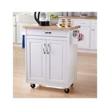 White Kitchen Island Storage Wood Cart Rolling Cabinet Rack Portable Furniture
