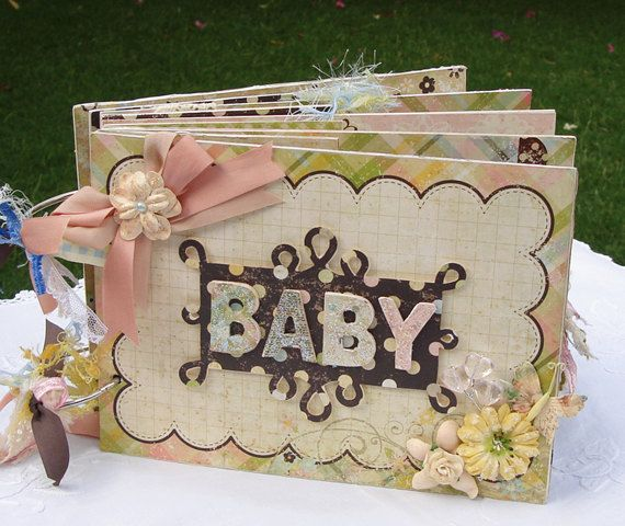 Baby Scrapbook Mini Album,  Handmade Mini Scrapbook Album, 8x6 inch chipboard album, Gender Neutral Baby Album. $70.00, via Etsy.