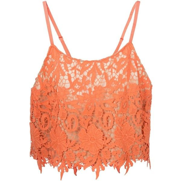 Alice+Olivia Floral Crochet Crop Top ($106) ❤ liked on Polyvore featuring tops, crop tops, shirts, blusas, crochet top, red top, red floral shirt, crop shirts and coral shirt