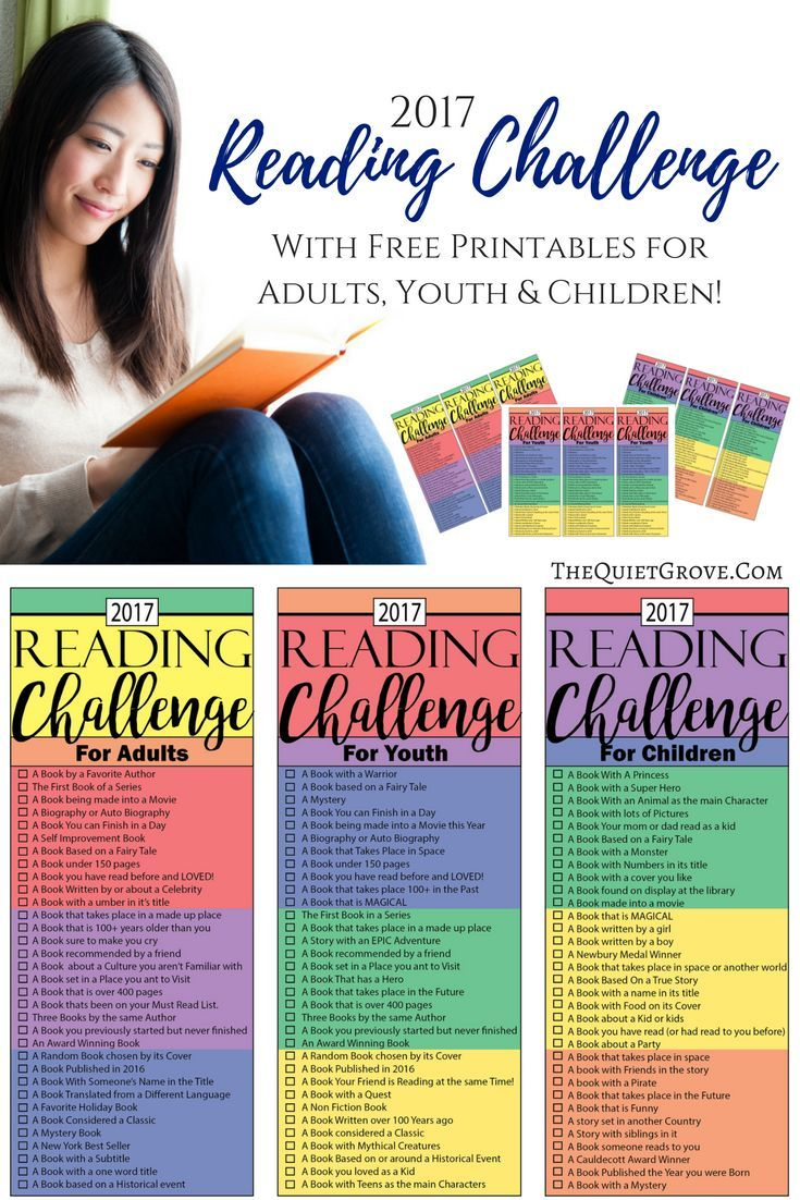 Are you looking for the BEST 2017 Reading Challenge for your whole family? Comes with FREE Printables for Adults, Youth & Kids