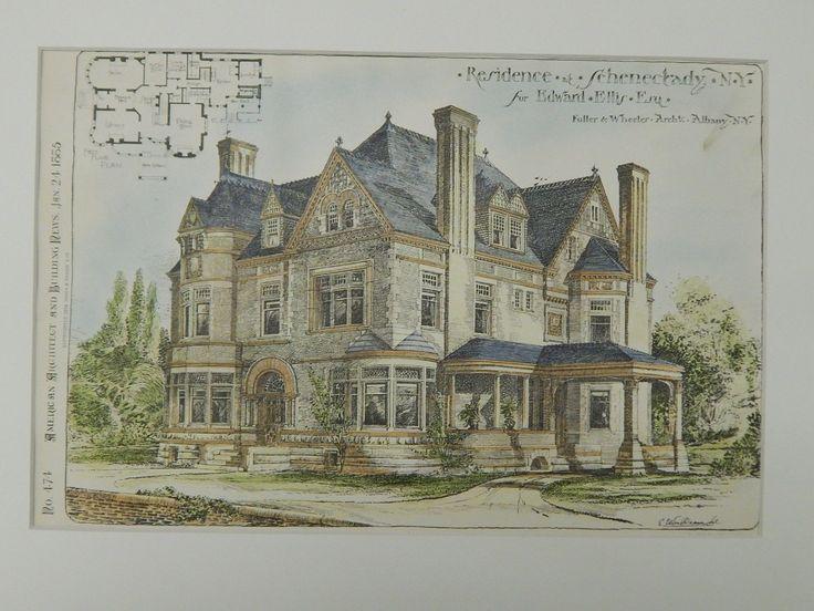 Residence for Edward Ellis, Esq., Schenectady, NY, 1885, Original Plan. Fuller & Wheeler.