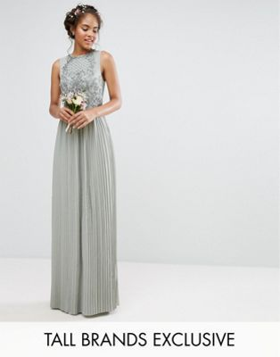 Maya Tall Embellished Top Maxi Dress With Pleated Skirt