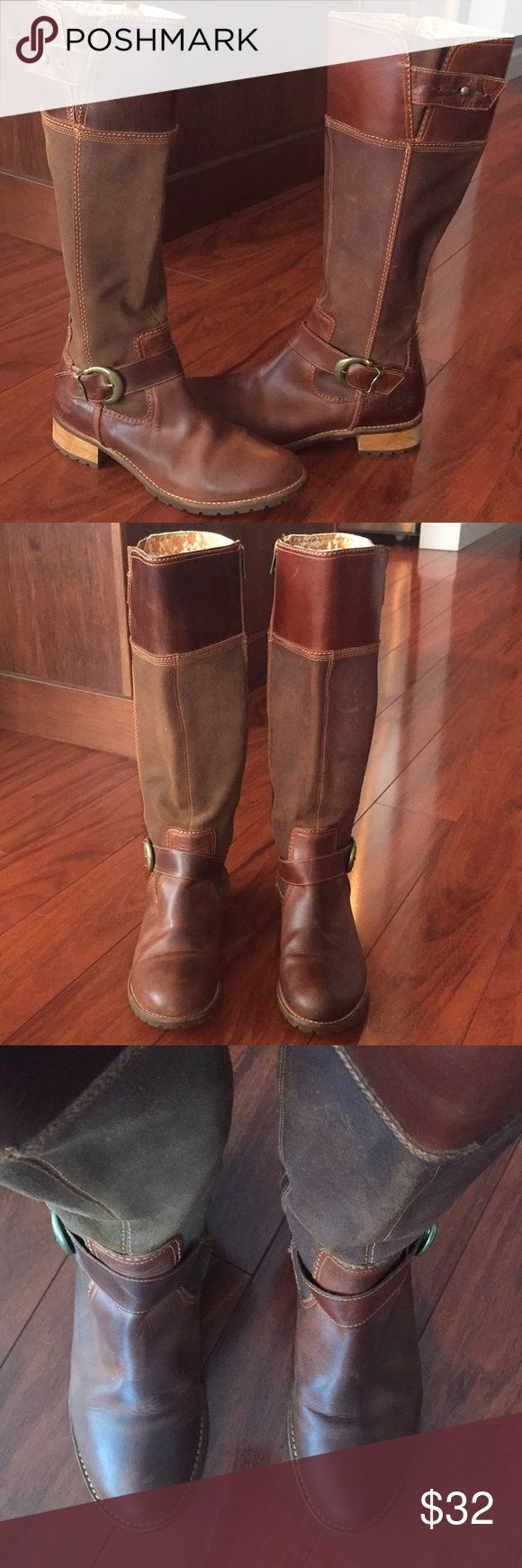 "Timberland 15"" tall brown leather boots Very good condition, not worn much. Full inside zip, adjustable top closure. Size 8. Few minor scratches, as will happen with leather. Timberland Shoes"