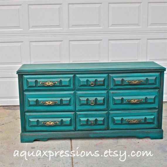 Teal Vintage Dresser Bright Buffet Bedroom Furniture Distressed Drawer Pulls FurnitureDining Room