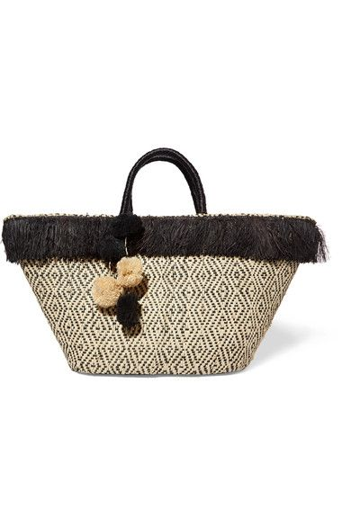 Beige and black straw Open top Weighs approximately 1.5lbs/ 0.7kg Imported