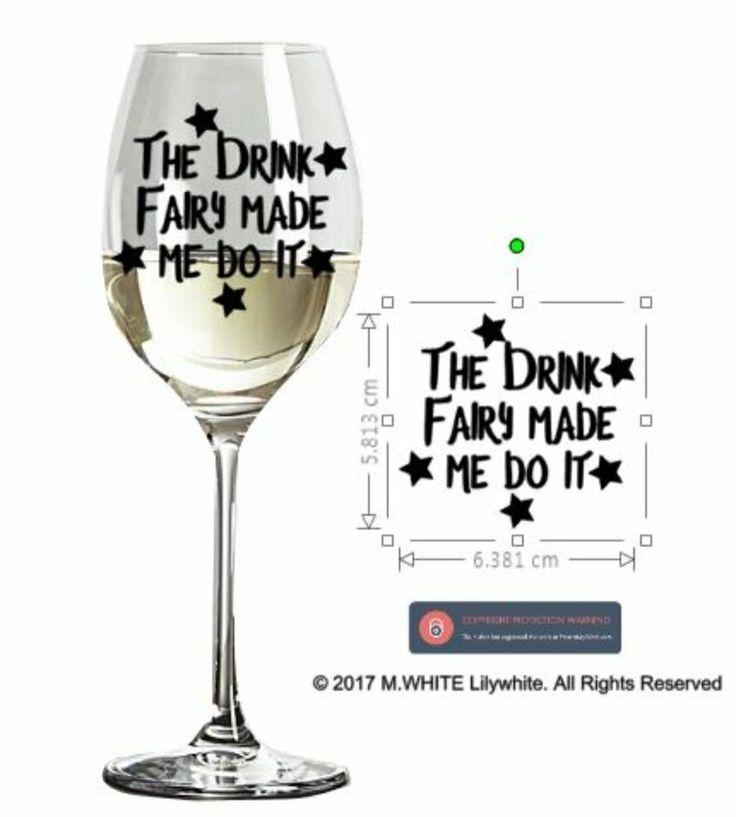 Wine glass sticker the drink fairy made me do it novelty glass sticker