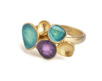 turquoise and purple ring, colorful jewelry, geometric ring, gold enamel jewelry, statement ring, purple gold ring, turquoise gold