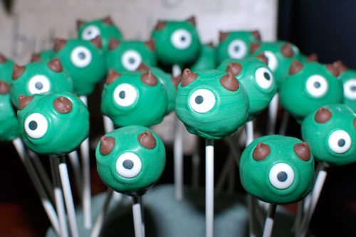 Monster Cake Pops :) They look like Mike from Monster's Inc