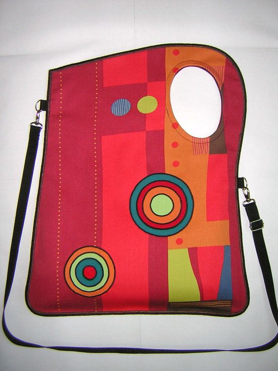 MEDIUM CANVAS BAG in BrownTurquoiseBeige with Circles por mocsi61