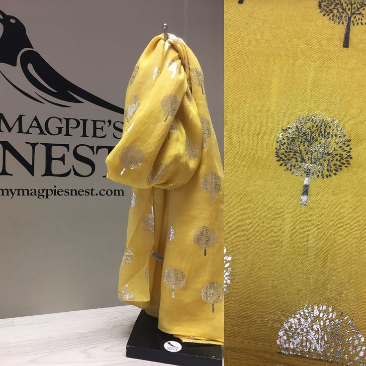 Foil tree print in yellow. Available in store and online www.mymagpiesnest.com