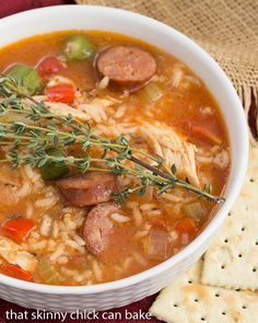 Jambalaya Soup | Packed with terrific flavor from chicken, andouille sausage, rice and more! from thatskinnychickcanbake.com @lizzydo