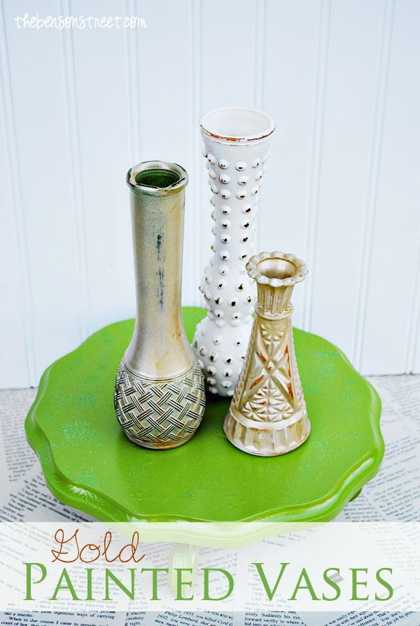 Vintage Gold Painted Vases at thebensonstreet.com #gold #vintage #vases #tutorial #thebensonstreet.com