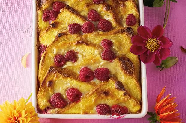 White chocolate and raspberry brioche pudding. Photgraphed by Romas Foord