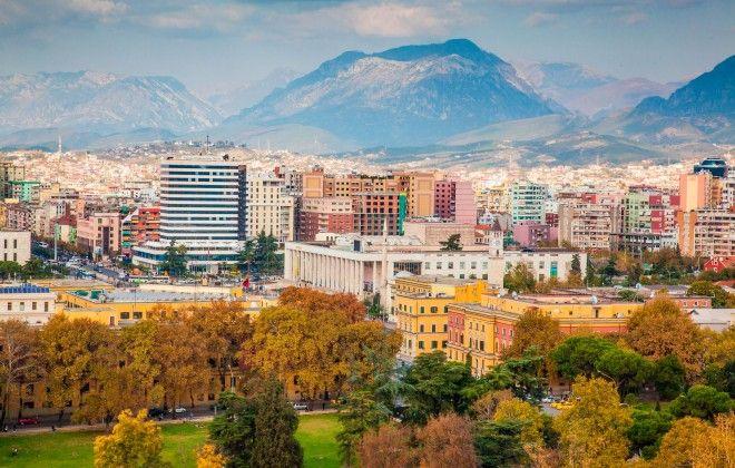 Tirana, Albania, colourful buildings