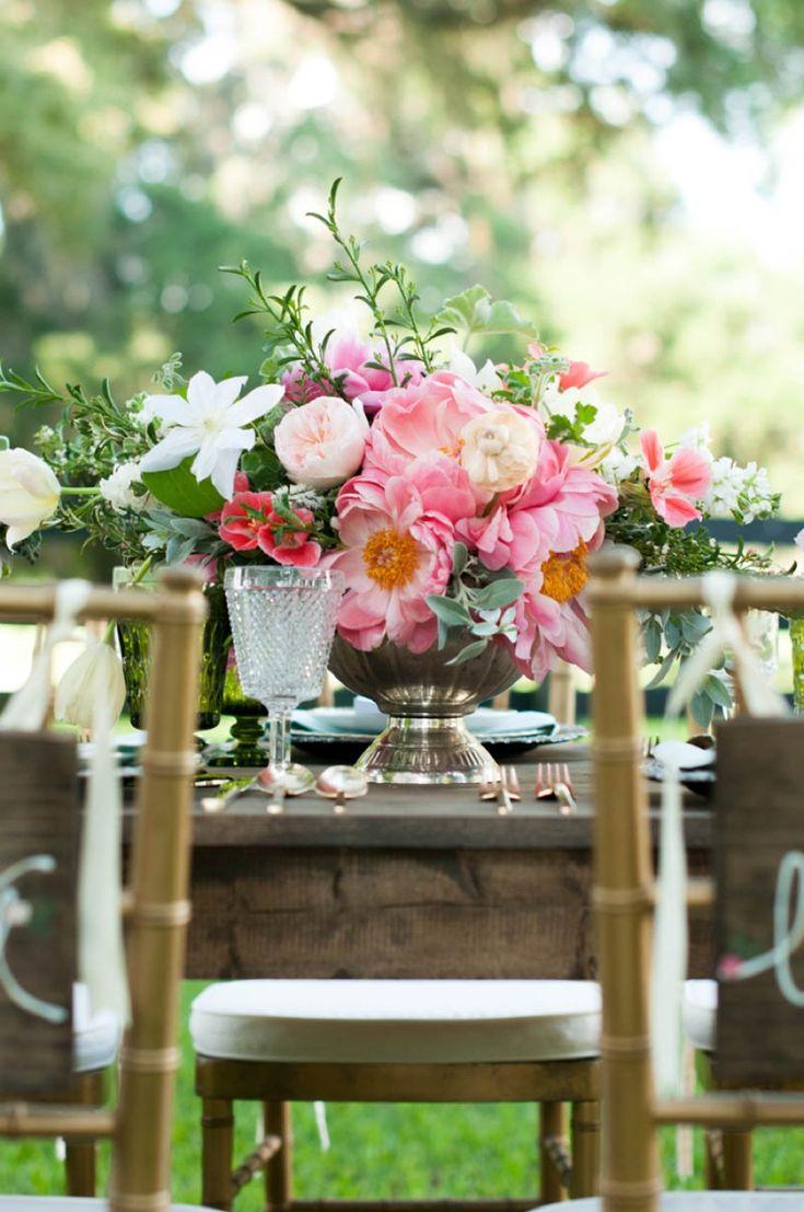 Gorgeous pink centerpiece // photo by http://www.carolineevan.com, see more: http://theeverylastdetail.com/kentucky-derby-wedding-ideas/