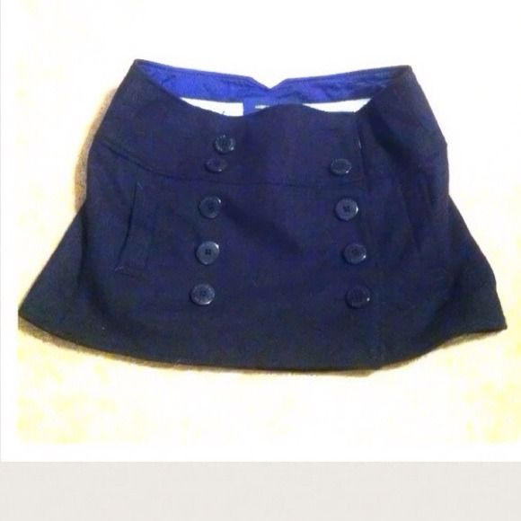 AE Navy Sailor Schoolgirl Mini Skirt w POCKETS!👌 Wool Mini Skirt. Navy blue - double breasted? Button detail. Pleated, Lined. Schoolgirl Style with fauxREAL pockets (👏🙏😍👌👊)! JRs size XS  *Missing one button, see pics- top right of skirt. Inside hidden button attached. I may have an extra matching button for the outside, from orig purch. Otherwise in great condition. I don't think I've ever worn this skirt, too big on my waist. NO TRADES / NO PAYPAL. Thank you. :) American Eagle…