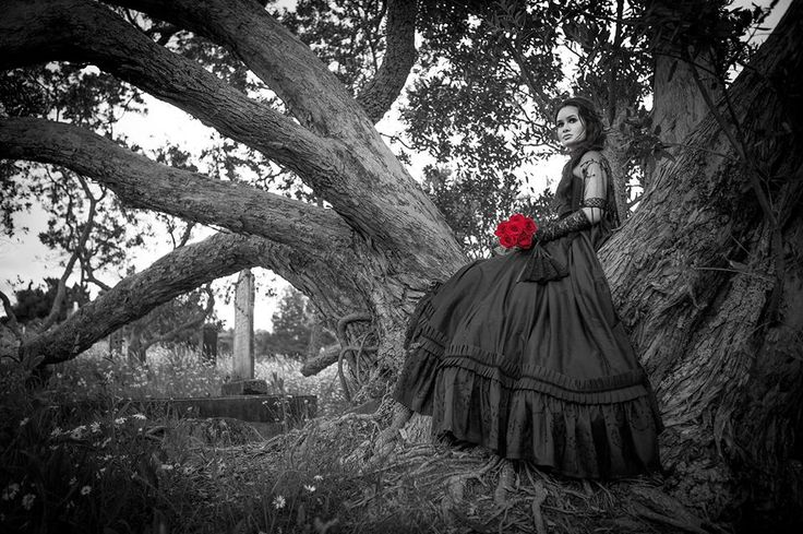 Fantasy Gothic Victorian Black Silk Dupion Ball Gown Red Roses Black Lace Fan  Photographer: Vanessa Wood from Suede Studios http://www.suedestudios.co.nz/.  Model, Hair & Makeup: Alyssia Atonio.  Styling: Vanessa Wood & Vanessa Burton Designer: V J Burton Gowns