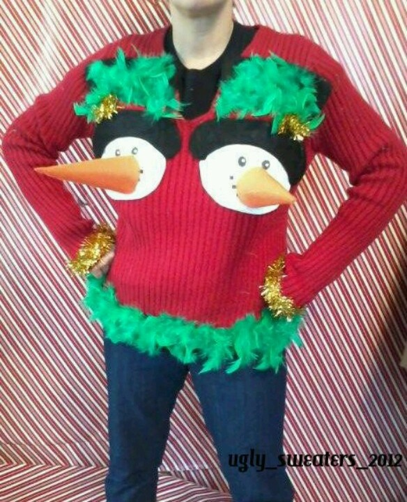 Tacky Christmas sweater. Reminds me of the one Trenton & I made. Lol