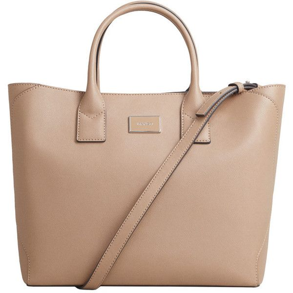 Saffiano-Effect Tote Bag ($50) ❤ liked on Polyvore featuring bags, handbags, tote bags, saffiano leather handbags, handbags totes, beige tote handbags, long purse and metallic purse