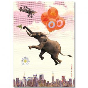Affiche A4 Air Zoo Elephant Héros de France - Henry et Henriette