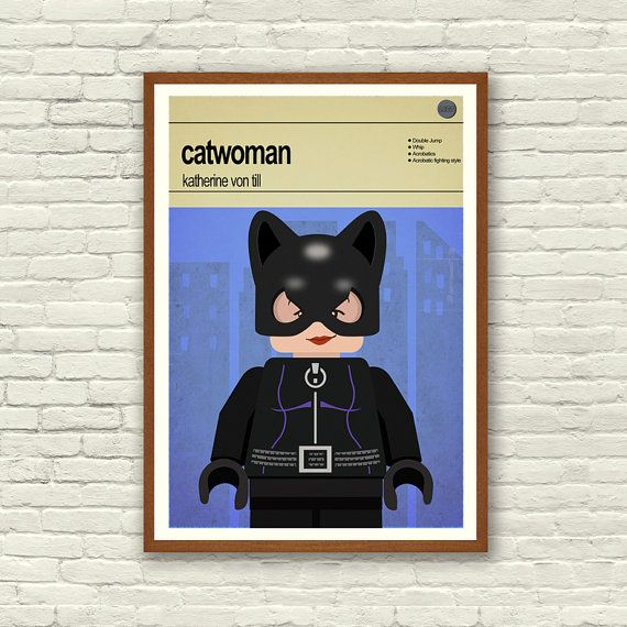 This is a stylish poster print of the Lego Marvel Super Hero Catwoman, fit to grace any man cave or children's bedroom. Hand drawn with a graphics tablet and pen this print is styled with typography and features the actor who voiced Catwoman in the Lego Marvel Super Heroes game and the Lego Super Hero abilities.