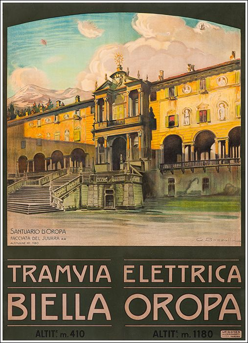 1920s Biella-Oropa Tramway, Italy vintage travel poster