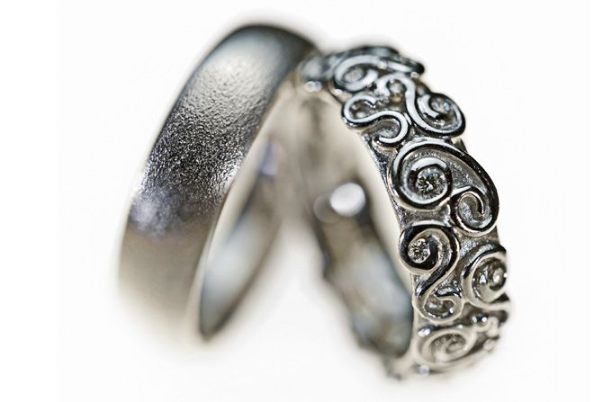 Wedding rings,  wedding bands,   Vielsesringe med snirkler - Milas Jewellery