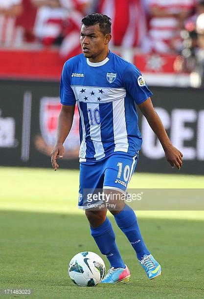 Mario Martinez of Honduras brings the ball down field during a game against the United States during the first half of an World Cup Qualifying March...