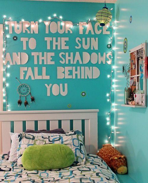 Tumblr Teenage Bedroom   room bedroom teenager room wall quote bedroom quote quote lights