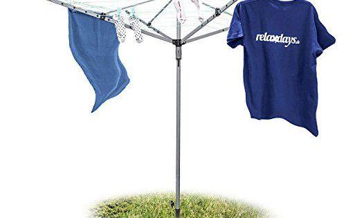 Relaxdays Sèche-linge parapluie Corde de 49 m 4 côtés Piquet de sol très stable Séchoir, gris: Séchoir parapluie pour usage extérieur…