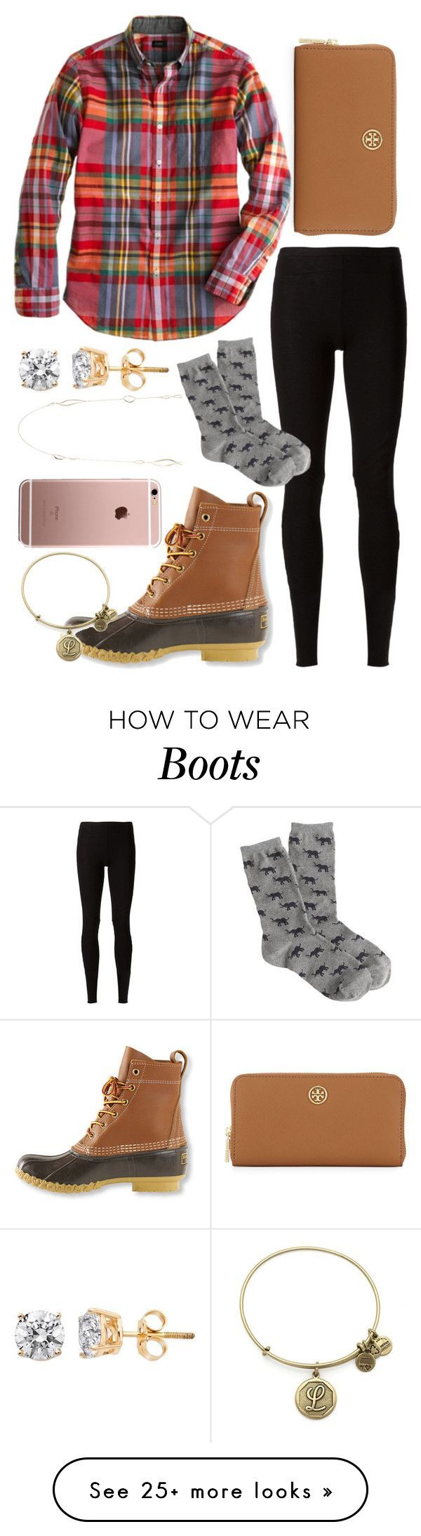 """duck boots and diamonds. Read d!"" by lindsay-mccartney on Polyvore featuring L.L.Bean, Rick Owens Lilies, J.Crew, Tory Burch, Alexis Bittar and Alex and Ani"