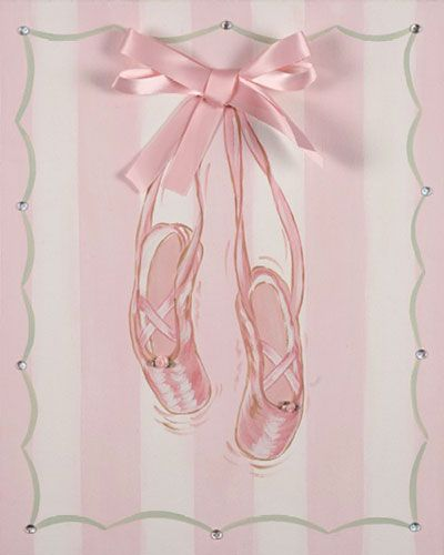 Satin ballet shoes canvas wall decor kids nursery home for Ballet shoes decoration