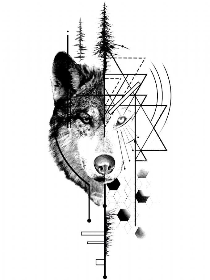 A Mystical Ambiguous Symbolic Animal The Wolf Is Commonly Represented In Art Find Tips For L In 2020 Geometric Wolf Tattoo Geometric Animal Tattoo Wolf Tattoo Design