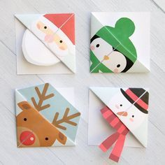 Print and fold origami bookmarks in five fun Christmas designs. Easy kids' craft - perfect for school Christmas parties. Click through to get the free printable templates!