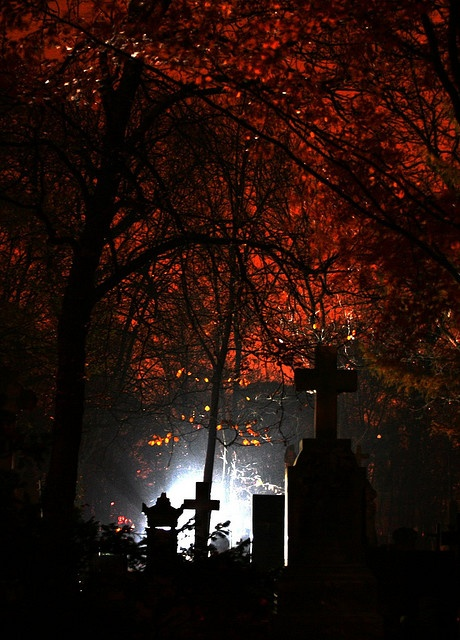 Cemetery at night, spooky atmosphere. I want to go visit some night.