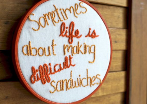 Arrested Development - difficult sandwiches embroidery - just listed to my Etsy! #arresteddevelopment #michaelbluth #tobaisfunke #difficultsandwiches #funnyembroidery #modernembroidery #handmade #handembroidery #funnyquote #sometimeslifeisaboutmakingdifficultsandwiches #embroidery #stitchery #etsy #etsyshop #etsystore