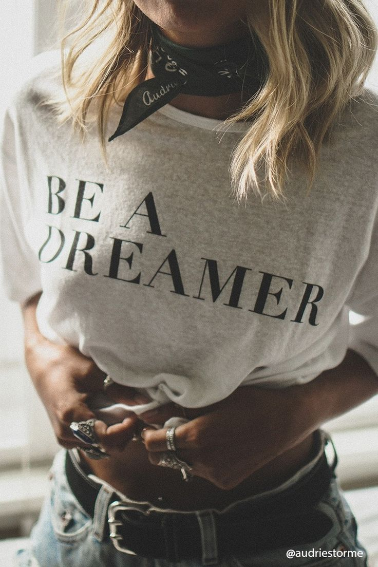 "Style Deals - A knit tee featuring a ""Be A Dreamer"" graphic, round neck, dropped short sleeves, and a boxy silhouette."