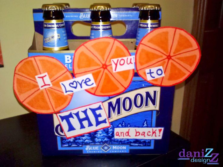 """Valentine's Day Decorative Beer Box Gifts for Him: Blue Moon with the saying """"I love you to the moon and back"""""""